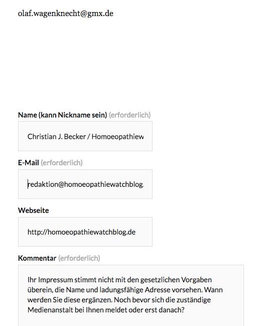 Anfrage an Olaf Wagenknecht wegen seines Blog-Impressums